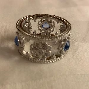 Judith Ripka Silver Fleur Blue Sapphire Topaz Ring